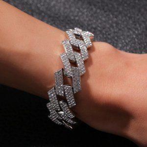 Iced Out Silver Diamond CZ Cuban Link Bracelet